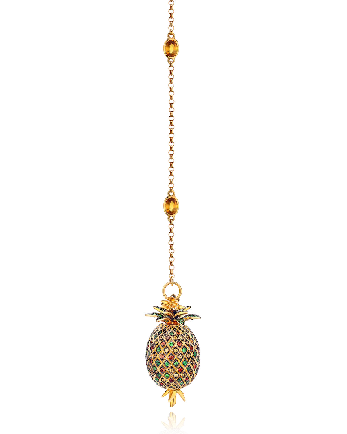 18k Sapphire and Tsavorite Pineapple Y-Necklace