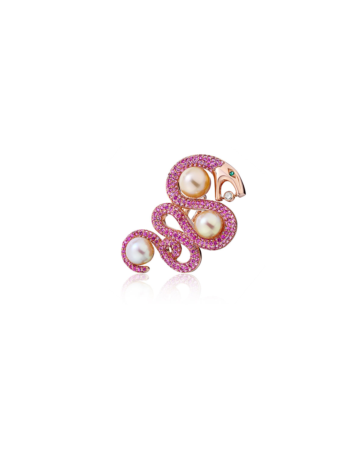 18k Rose Gold Pink Sapphire and Pearl Snake Ring