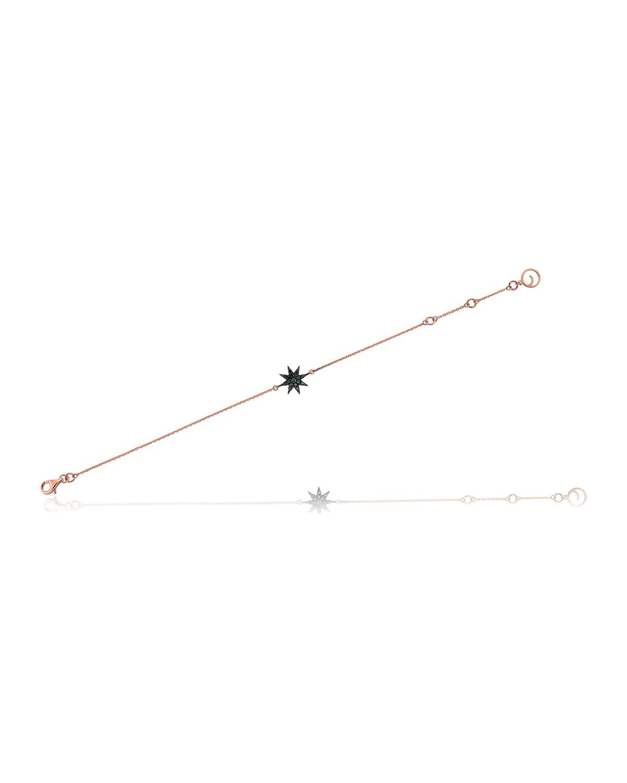 14k Rose Gold Venus Star Black Diamond Bracelet