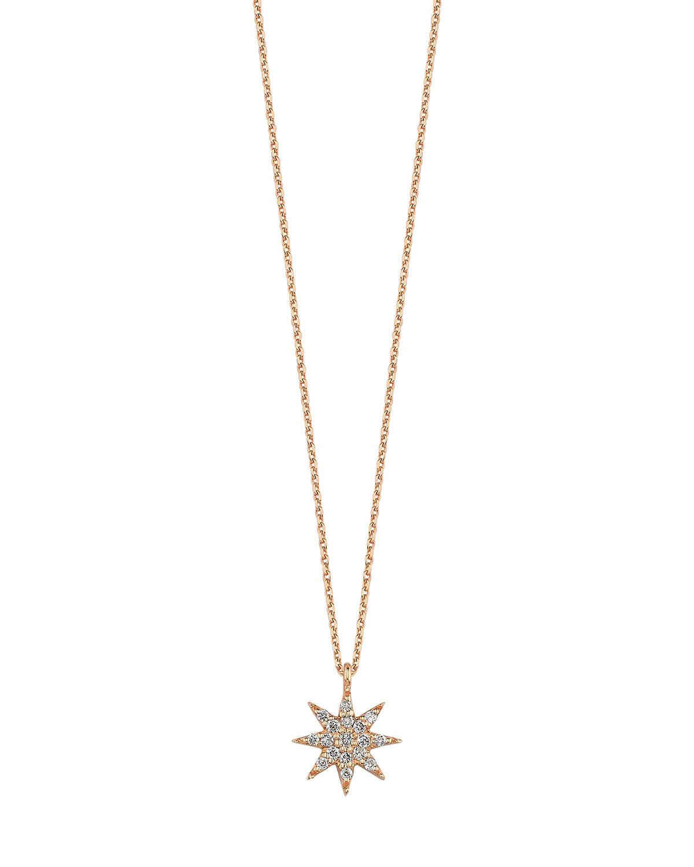 14k Rose Gold Venus Star Pave Diamond Pendant Necklace