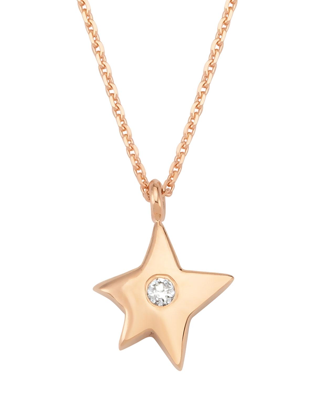 14k Rose Gold Sirius Star Diamond Pendant Necklace