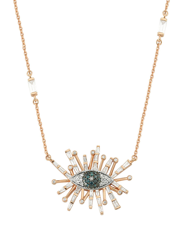14k Rose Gold Eye Light Diamond Necklace