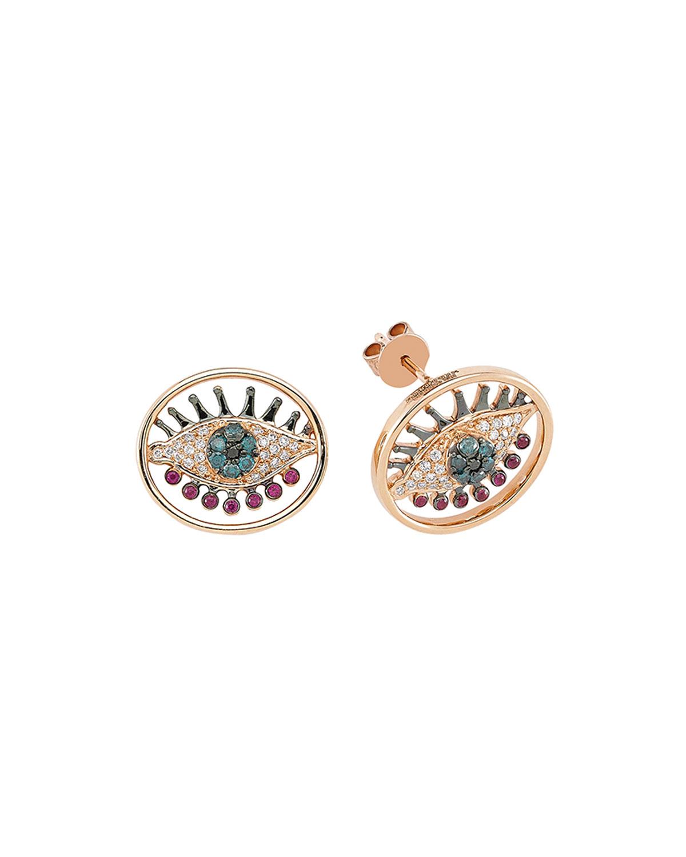 14k Rose Gold Eye Light Earrings