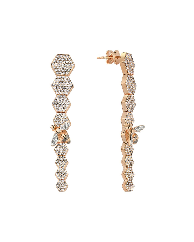 14k Rose Gold Long Bee & Honeycomb Drop Earrings