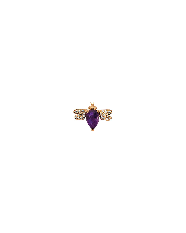 14k Rose Gold Amethyst and Diamond Bee Stud Earring