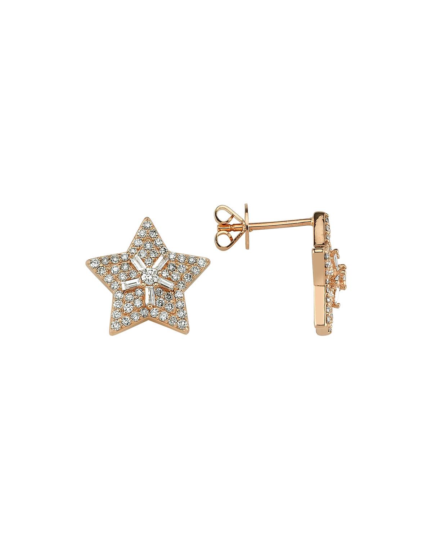14k Rose Gold Diamond Sirius Stud Earrings