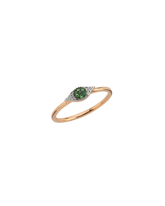 14k Rose Gold Eye Light Pave Diamond Ring