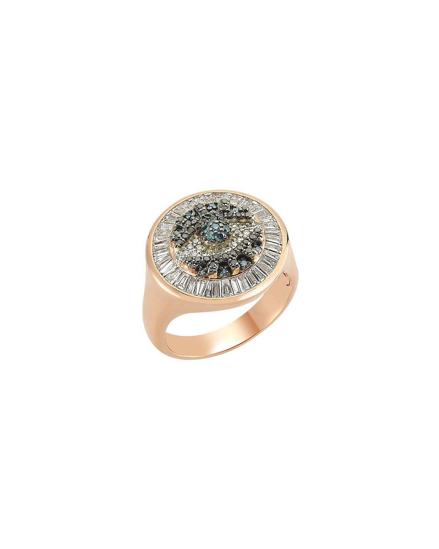 14k Rose Gold Eye Light Diamond Round and Baguette Ring