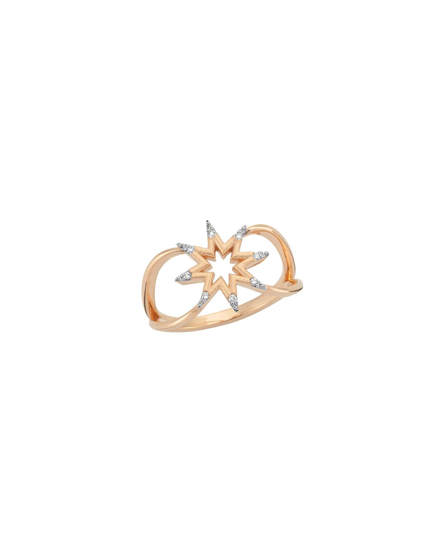 Venus Star 14k Rose Gold Diamond Ring