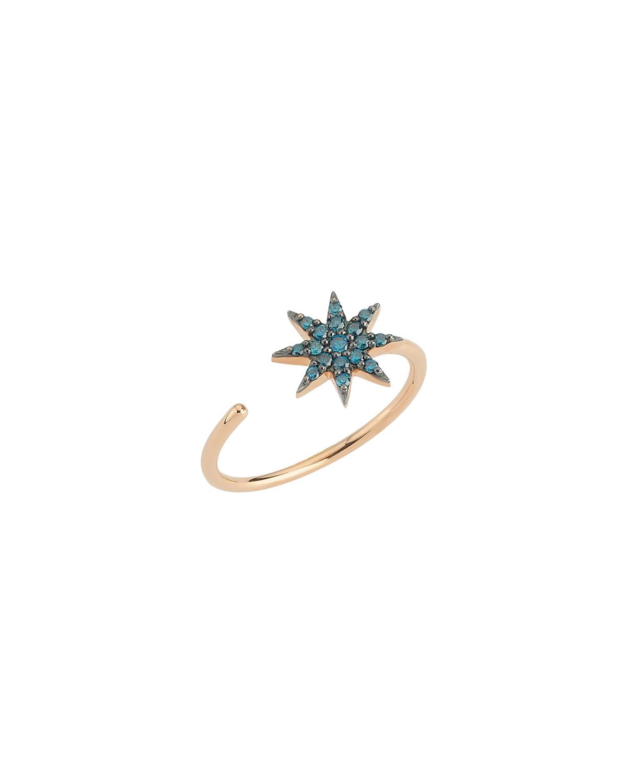 14k Rose Gold Venus Star Ring with Blue Diamonds