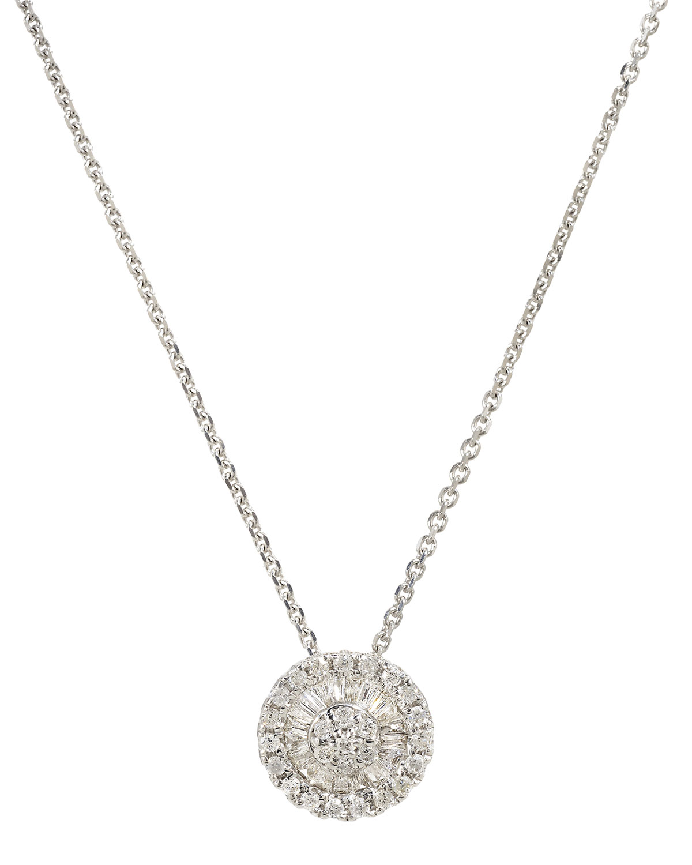 18k White Gold Tiny Pizza Diamond Necklace