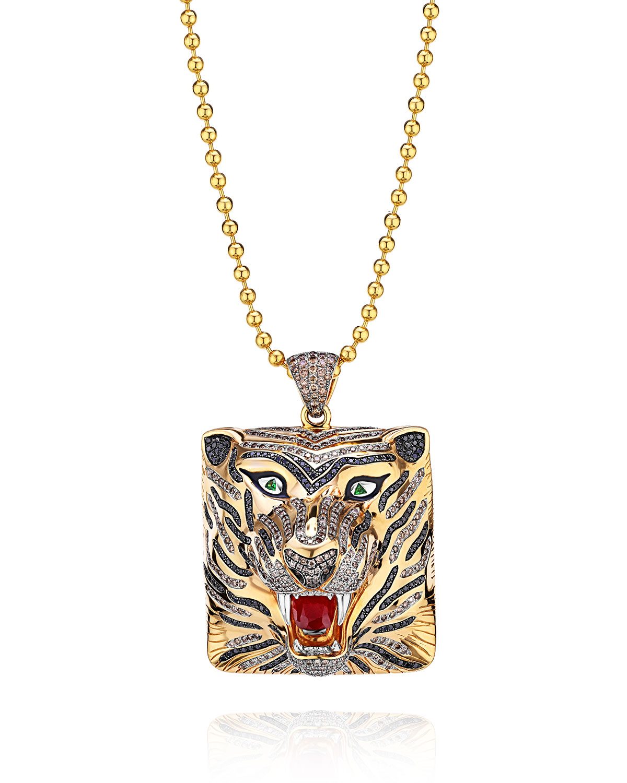 18k Diamond Tiger Pendant with Sapphires and Tsavorite