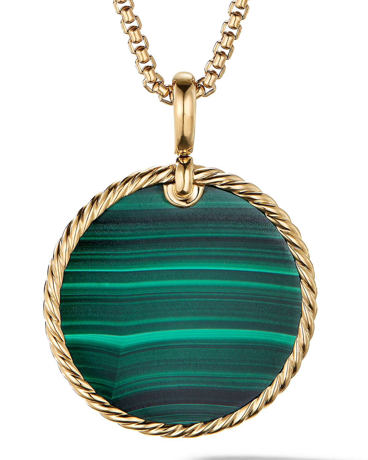 David Yurman Accessories DY ELEMENTS DISC PENDANT IN 18K YELLOW GOLD WITH MALACHITE