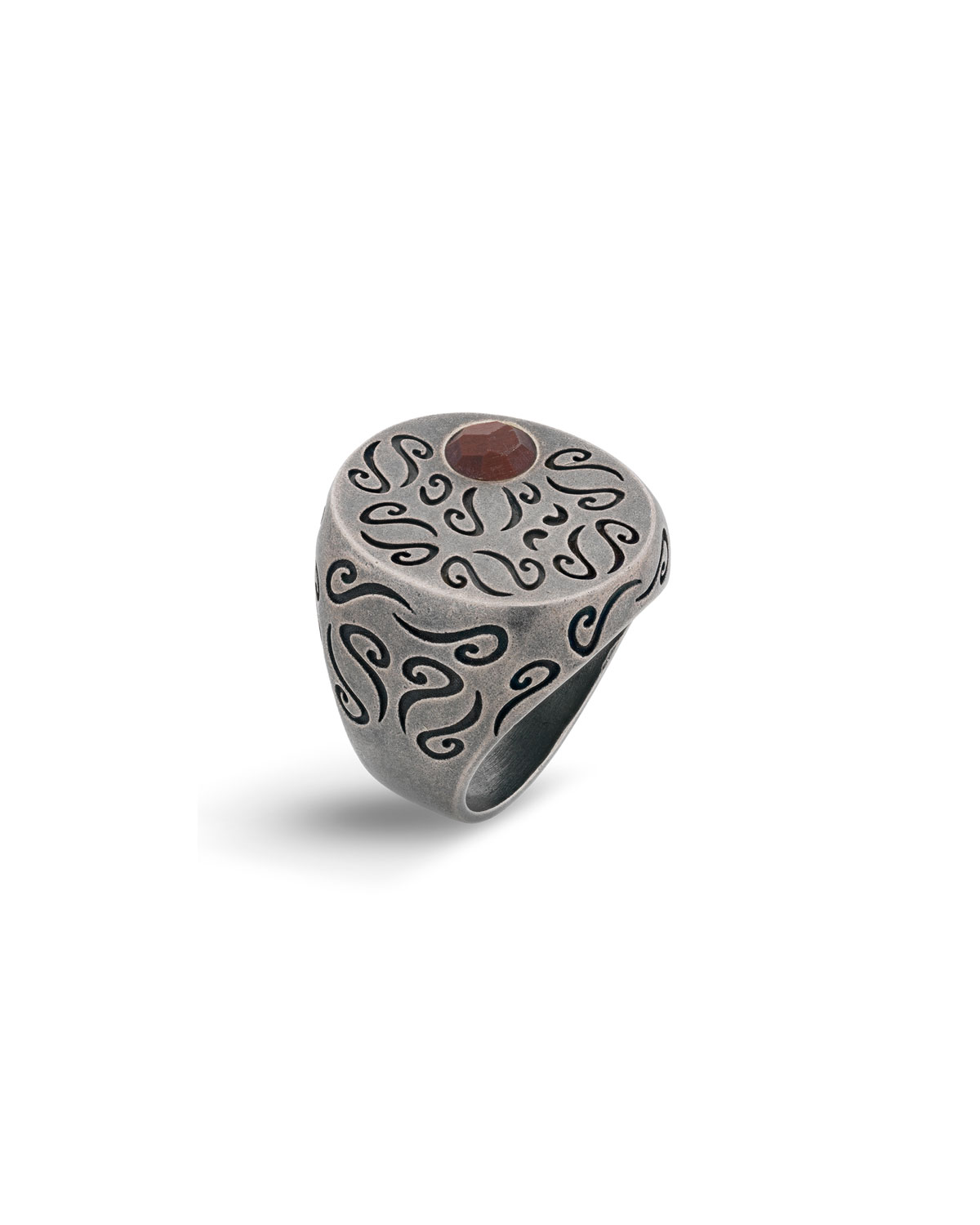 Men's Ara Round Oxidized Silver Signet Ring with Tiger's Eye