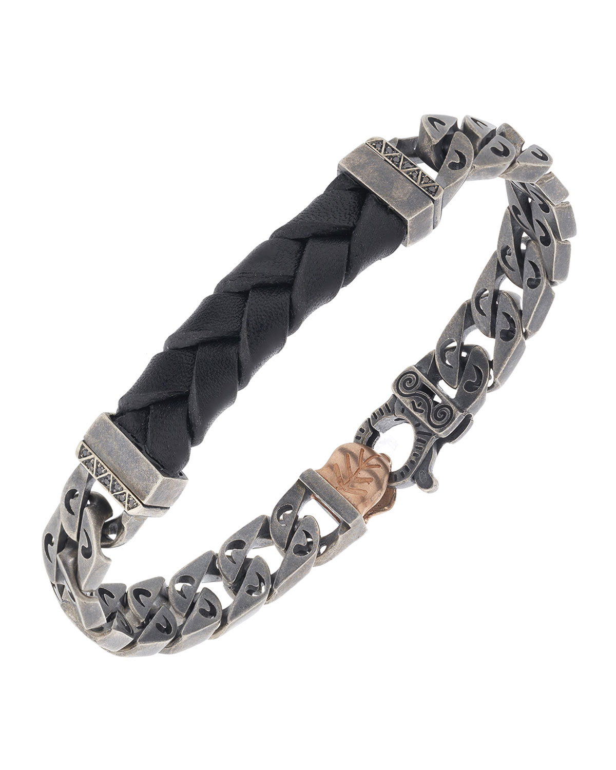 Men's Woven Leather/Silver Chain Bracelet w/ 18k Gold-Plated Clasp