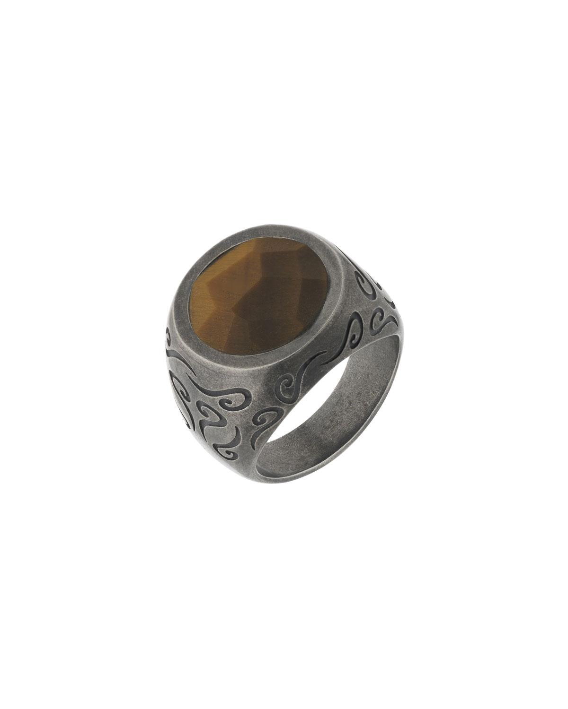 Men's Ara Round Red Tiger Eye Ring