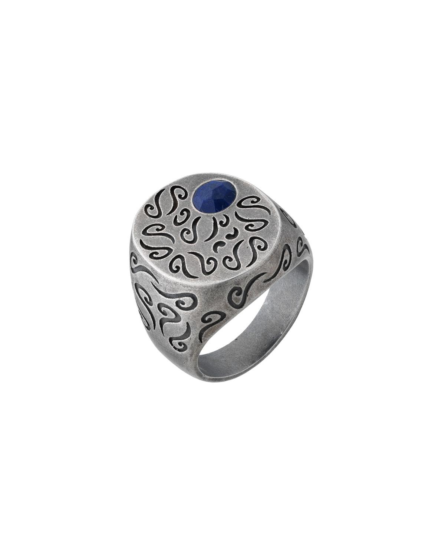 Men's Ara Round Oxidized Silver Ring with Lapis