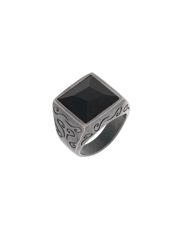 Ara Square Black Onyx Ring
