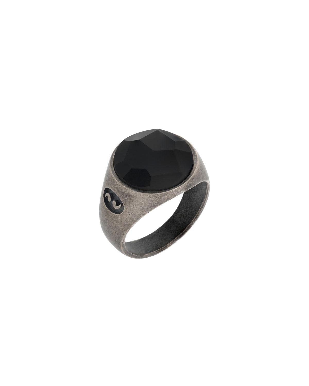 Men's Moneta Sterling Silver Pinky Ring w/ Black Onyx