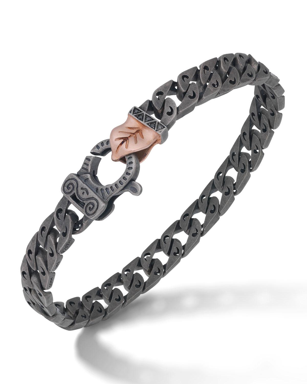 Men's Flaming Tongue Chain Bracelet with Black Diamonds