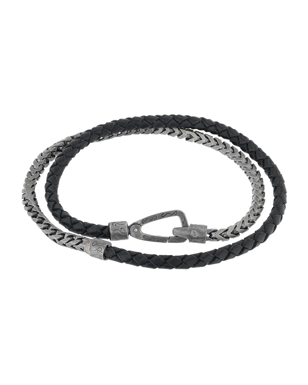 Men's Lash Braided Leather & Chain Double-Wrap Bracelet