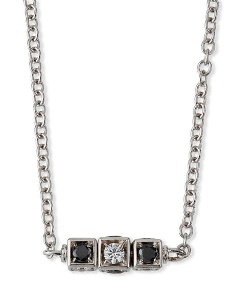 Miseno 18k White Gold Black and White Diamond Cube Necklace