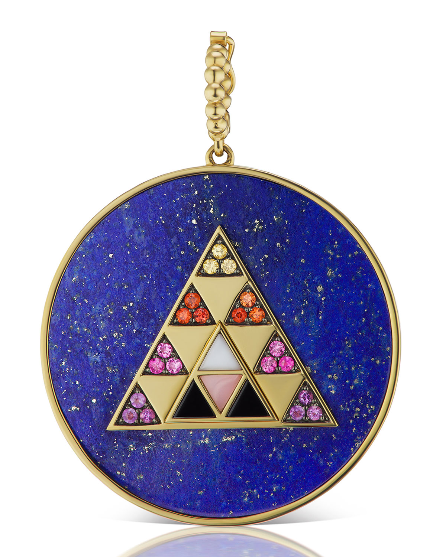 Lapis Medallion Pendant with Multi-Stone Triangle