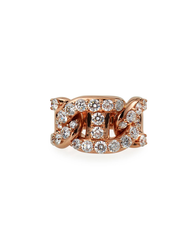 18k Rose Gold Diamond Chain-Link Ring