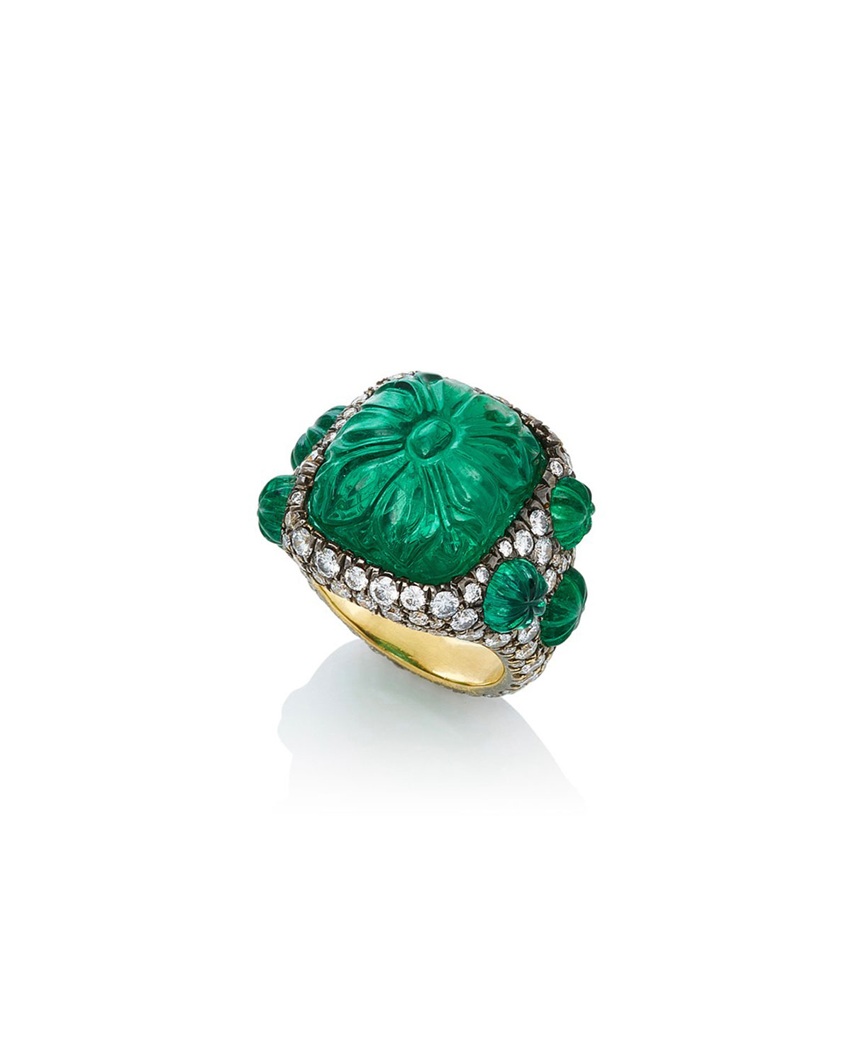 18k Carved Emerald and Diamond Ring