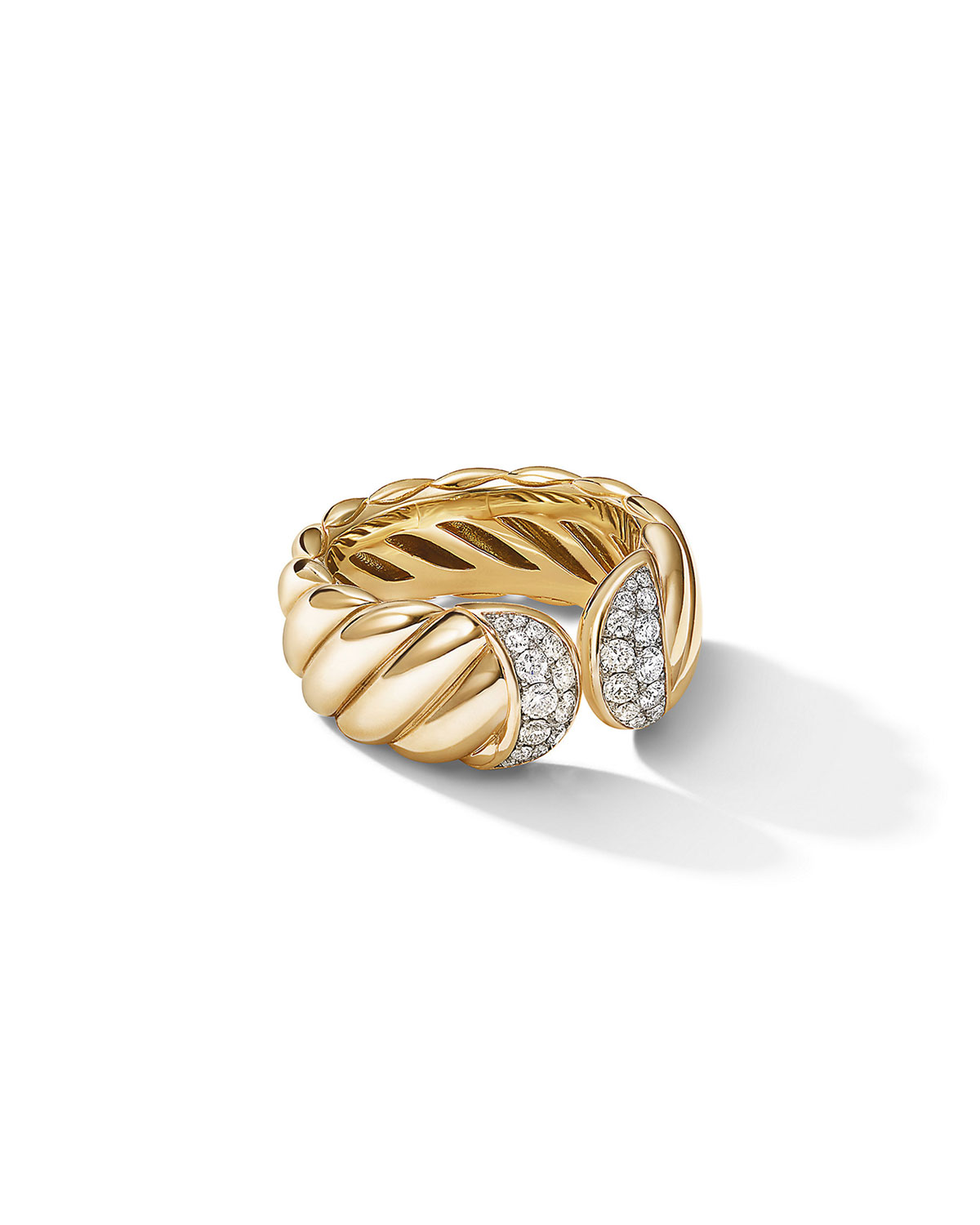 David Yurman Rings SCULPTED CABLE RING IN 18K YELLOW GOLD WITH PAVE DIAMONDS
