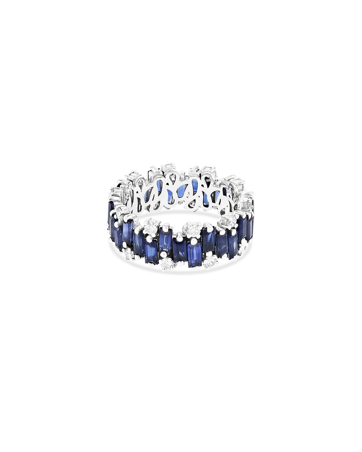 Audrey 18K White Gold Eternity Band Ring with Dark Blue Sapphires & Diamonds