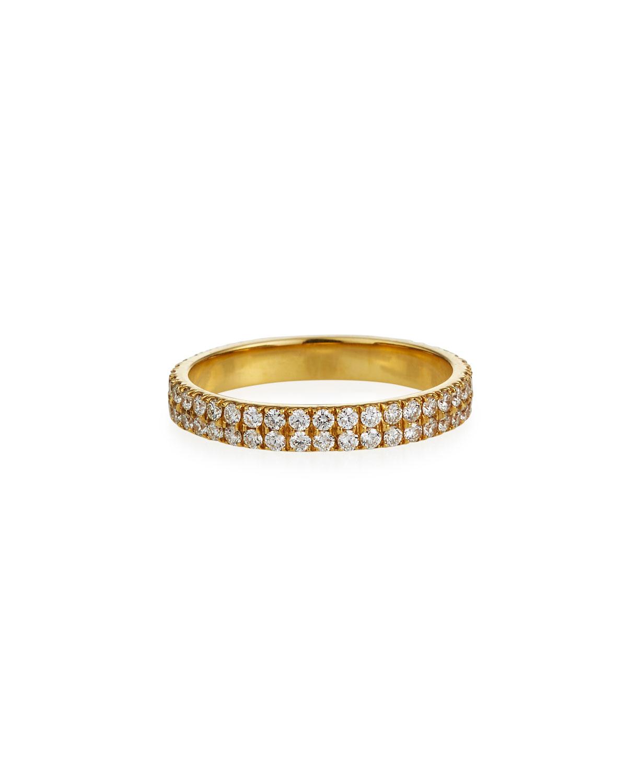 18k Pave 2-Row Diamond Pinky Ring