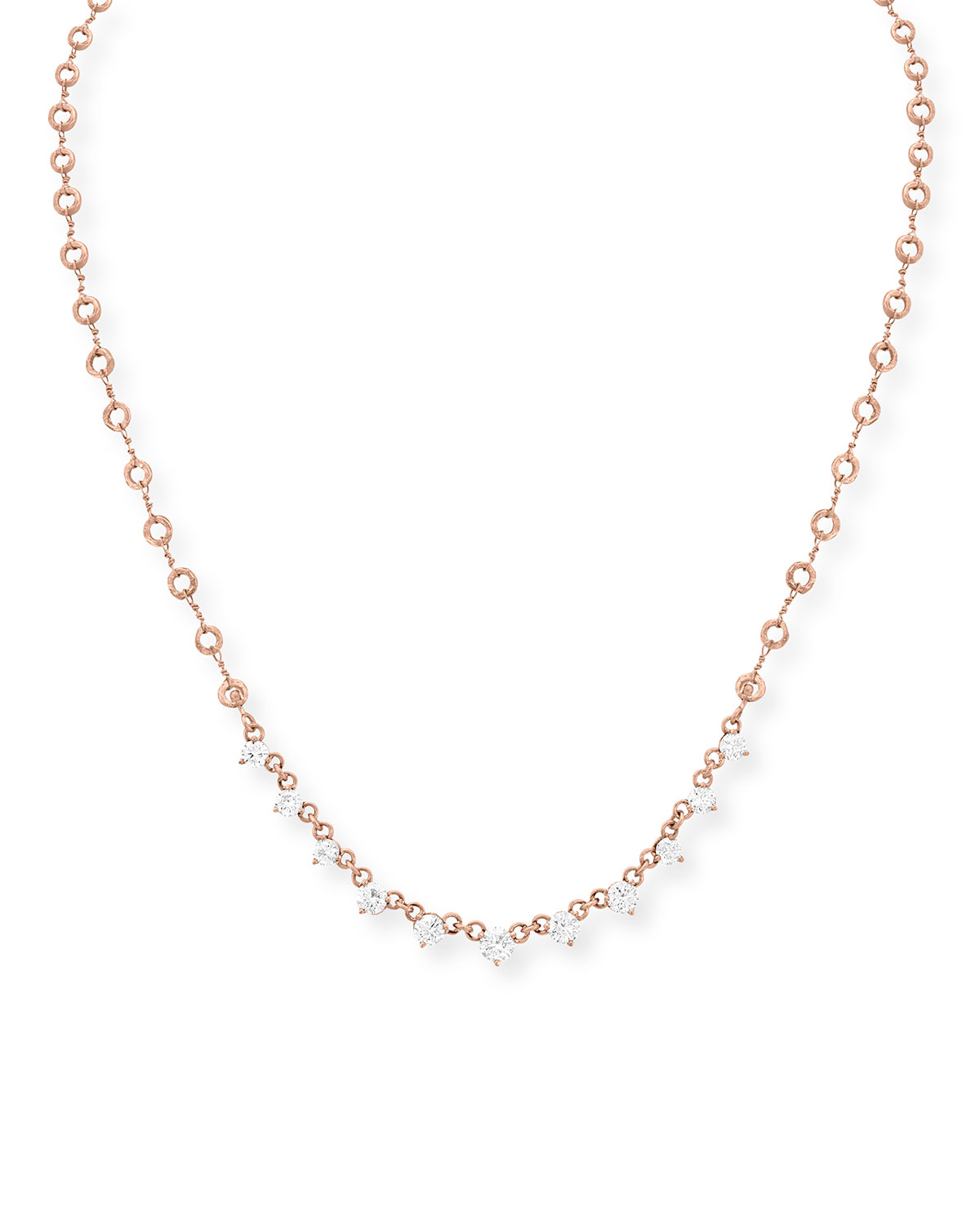 18k Rose Gold Carved Link Necklace with Diamonds