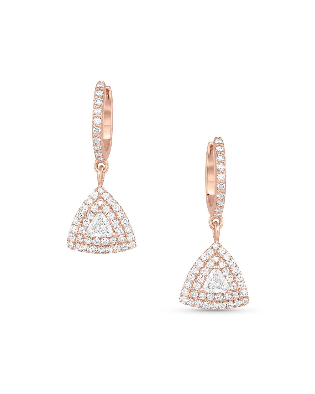 18k Rose Gold Diamond Hoop and Drop Earrings