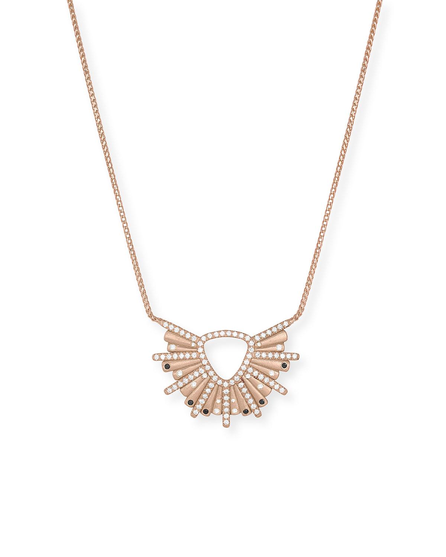 18k Rose Gold Sunburst Diamond and Black Diamond Pendant Necklace