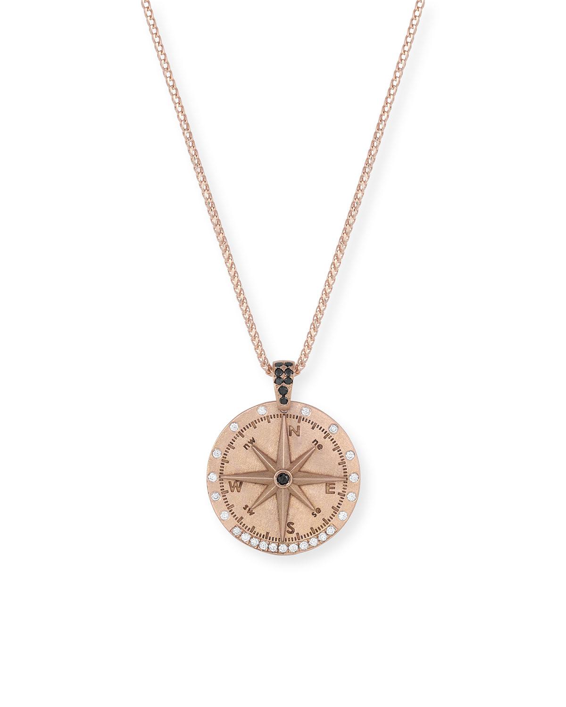 18k Rose Gold Compass Shield Diamond Pendant Necklace