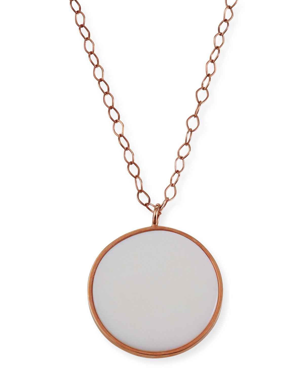 Ever Jumbo White Agate Disc Necklace