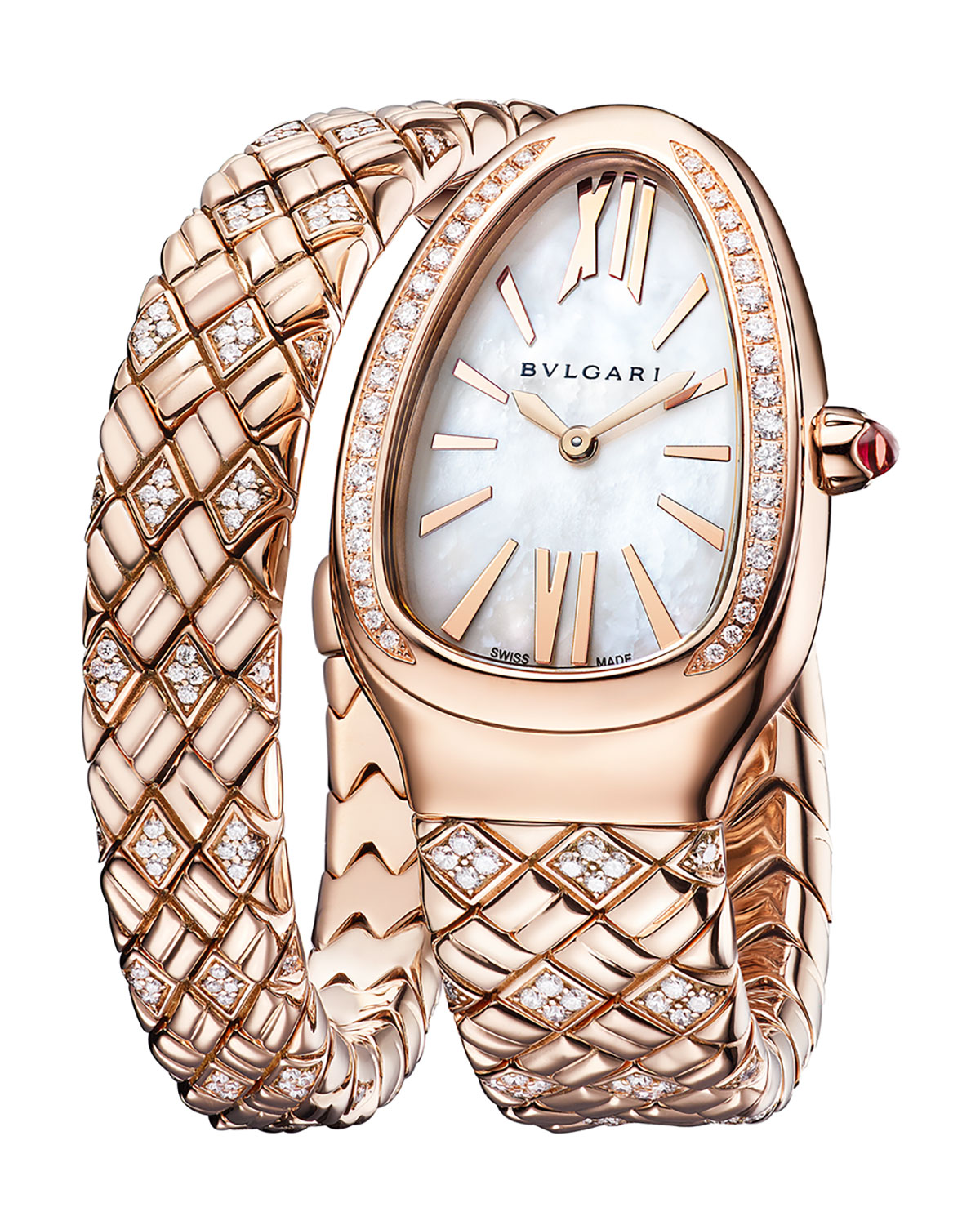 Serpenti Spiga 18k Rose Gold Diamond 1-Twirl Watch with Mother-of-Pearl Dial