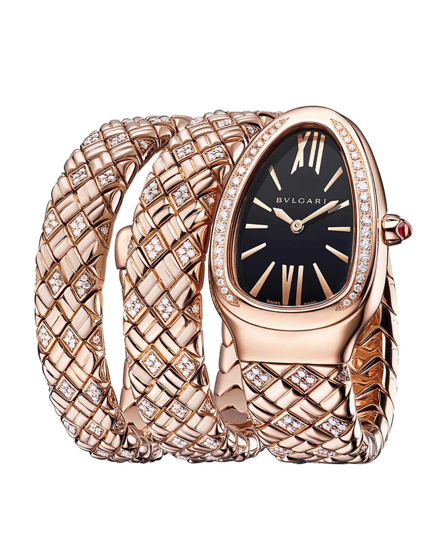 Serpenti Spiga 18k Rose Gold Diamond 2-Twirl Watch with Black Dial