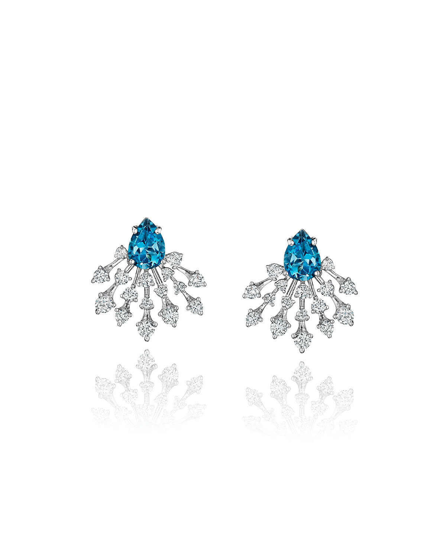 Luminus 18k White Gold Blue Topaz and Diamond Ray Earrings