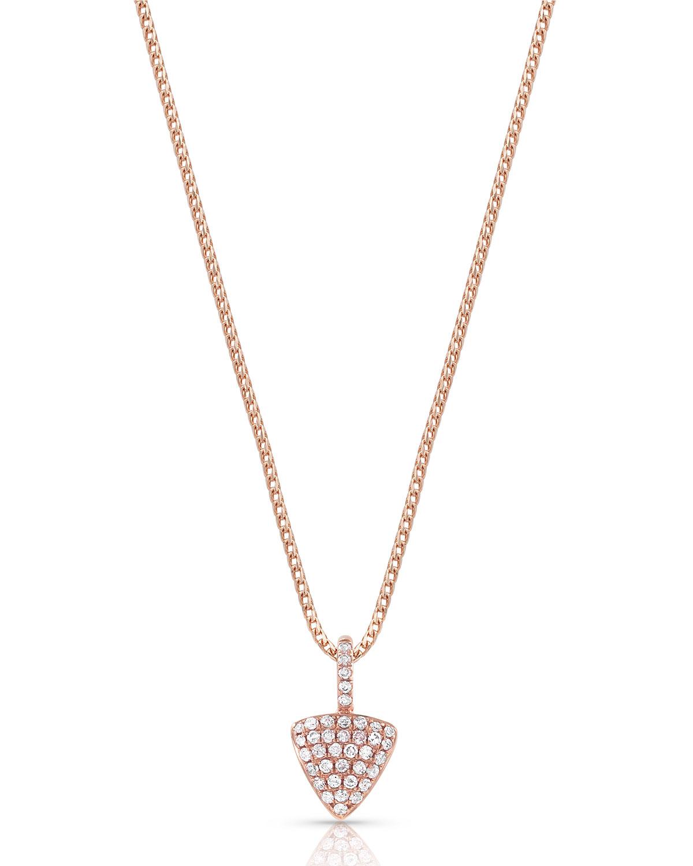 18k Rose Gold Diamond Triangle Pendant Necklace
