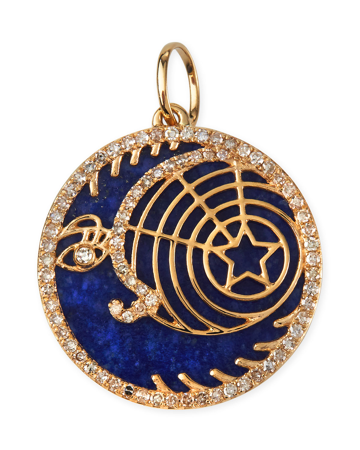 Celstial Lapis Crescent Moon and Star Pendant