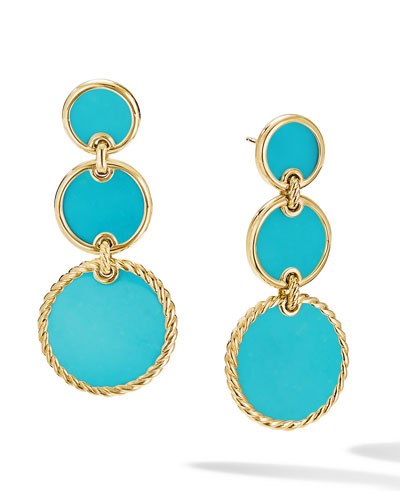 Gold plated earring with hope connector and blue colored Acetate