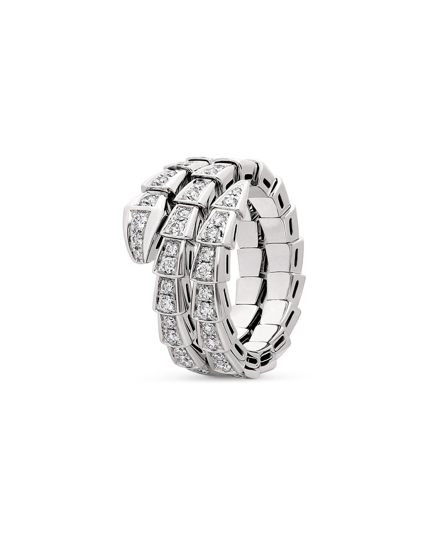 Serpenti Viper 2-Coil Ring in 18k White Gold and Diamonds
