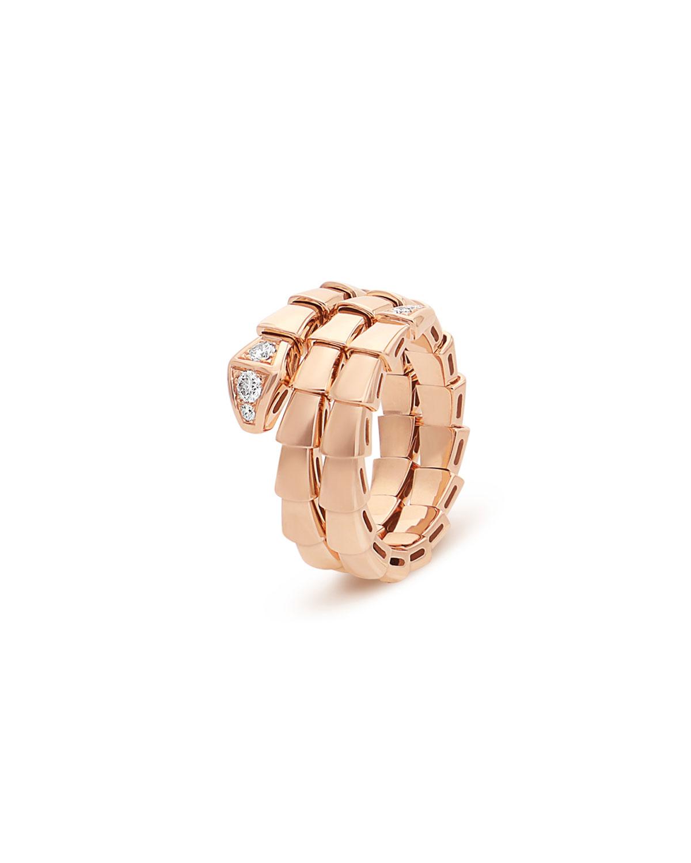 Serpenti Viper 2-Coil Ring in 18k Rose Gold and Diamonds