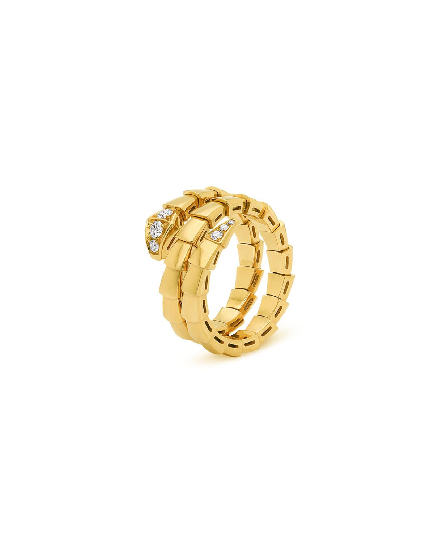 Serpenti Viper 2-Coil Ring in 18k Yellow Gold and Diamonds