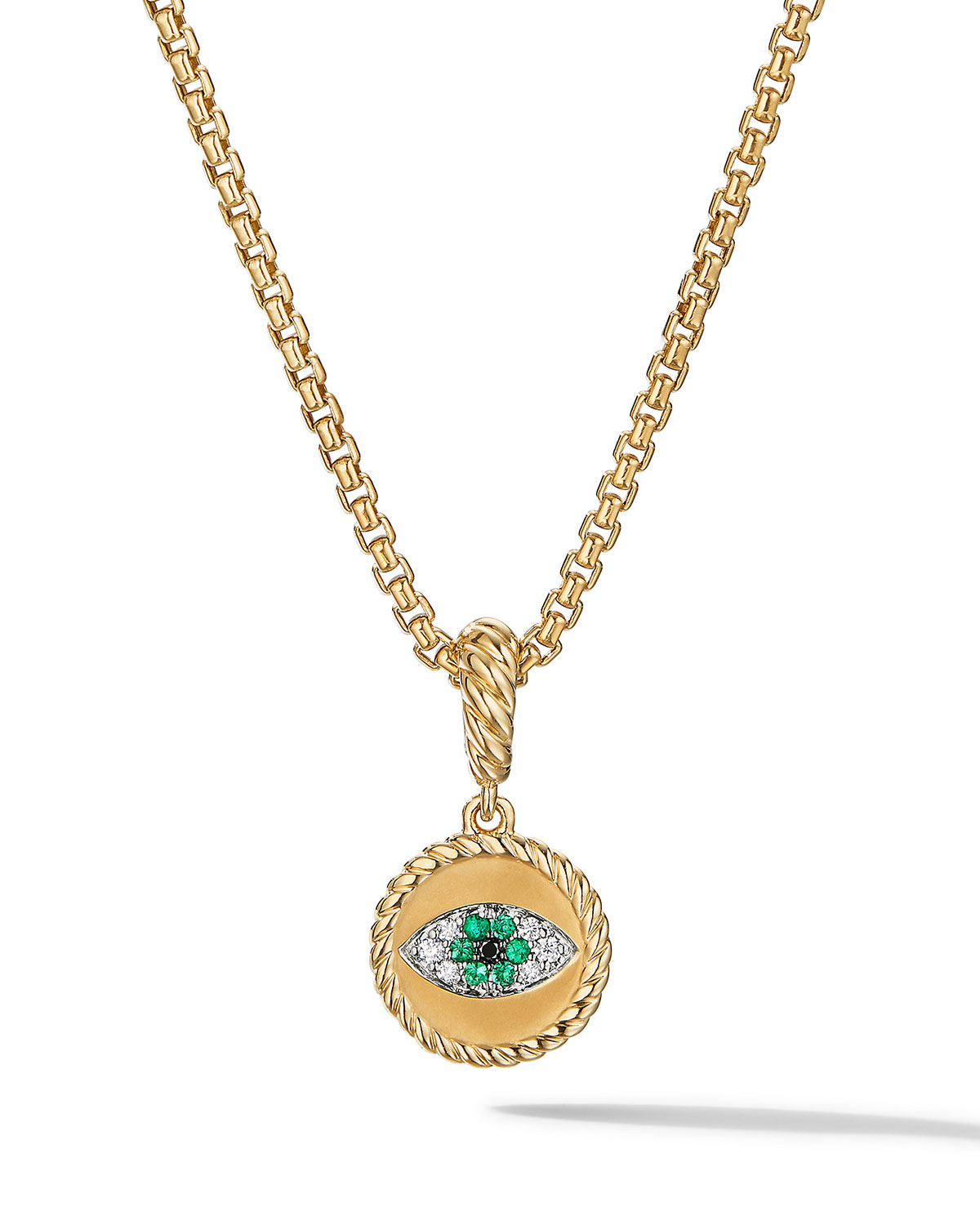 David Yurman Jewelrys EVIL EYE AMULET IN 18K YELLOW GOLD WITH PAVE EMERALDS AND DIAMONDS