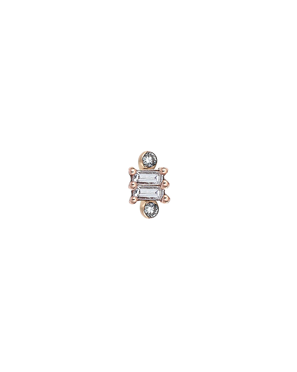 Multi Baguette Stud Earring with Circle Diamond Points