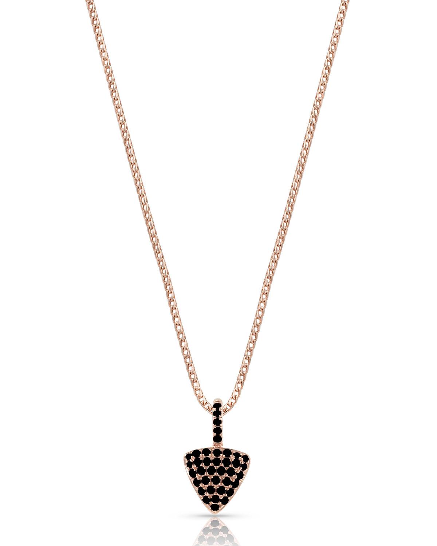18k Rose Gold Black Diamond Triangle Pendant Necklace