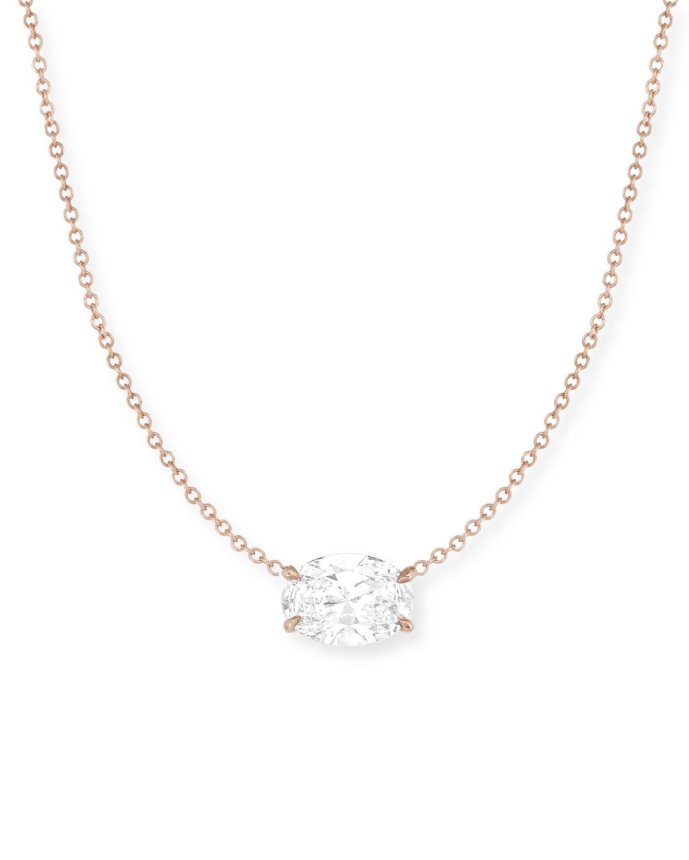 18k Rose Gold East/West Diamond Oval Choker Necklace